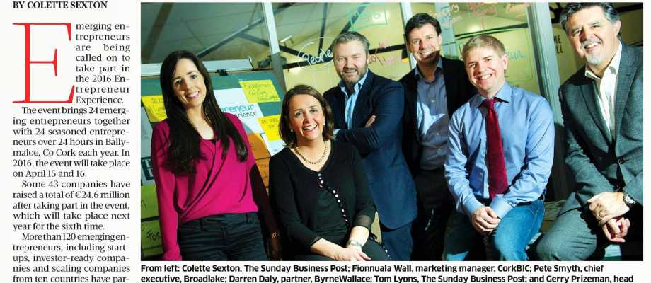 2016 Experience gets set for Entrepreneurs – Sunday Business Post